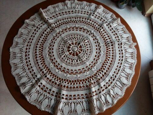 """Beautiful Vintage Handmade Crochet Lace Round Tablecloth Runner Ivory 31.5"""""""