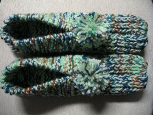 "Unisex Adult Amish Handmade Slippers Honeydew Green Mix Wms X Lg Mans Lg 10 1/2"""