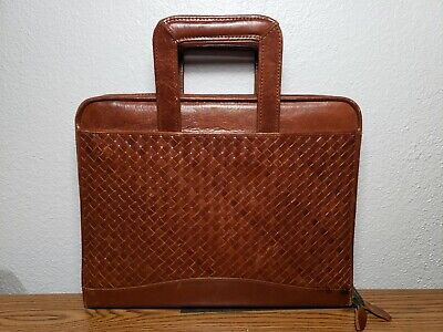 Scully Cognac Woven Leather Planner Binder Organizer 3 Ring Zip Drop Handles
