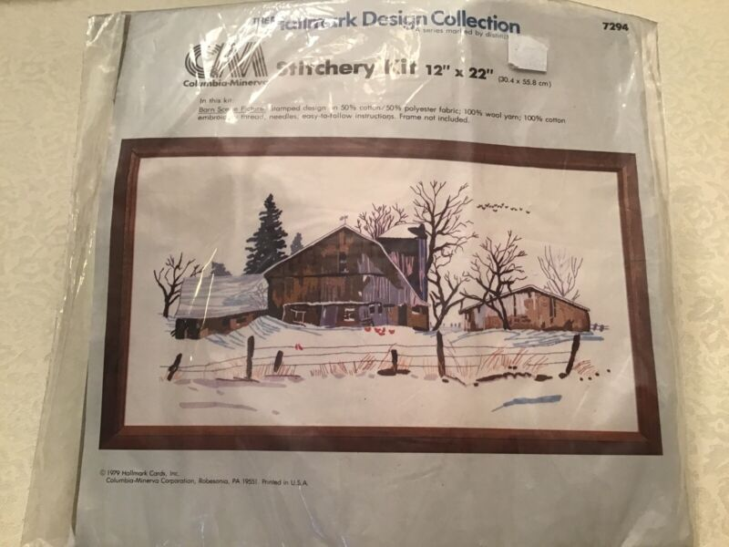 Vtg 1979 Barn Scene Picture Crewel Embroidery Stitchery Kit by Hallmark Rustic