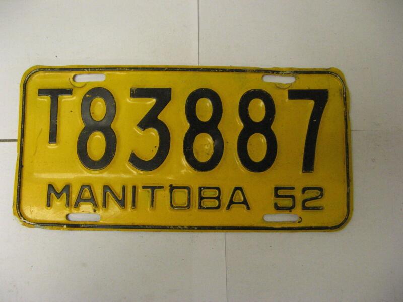 1952 52 Manitoba Canada License Plate T83887