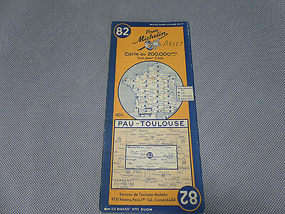 Card Michelin No 82 Pau-Toulouse 1947/Collector Bibendum Vintage