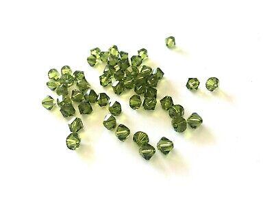 50 Olivine 6mm Swarovski Crystal Bicone Beads - Olive Green Army - Authentic Olivine Swarovski Crystal Bicone Bead