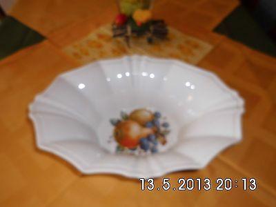Exclusieve Obstschale weiß Porzellan fächerartig K&A Krautheim 35x25cm H12,5cm