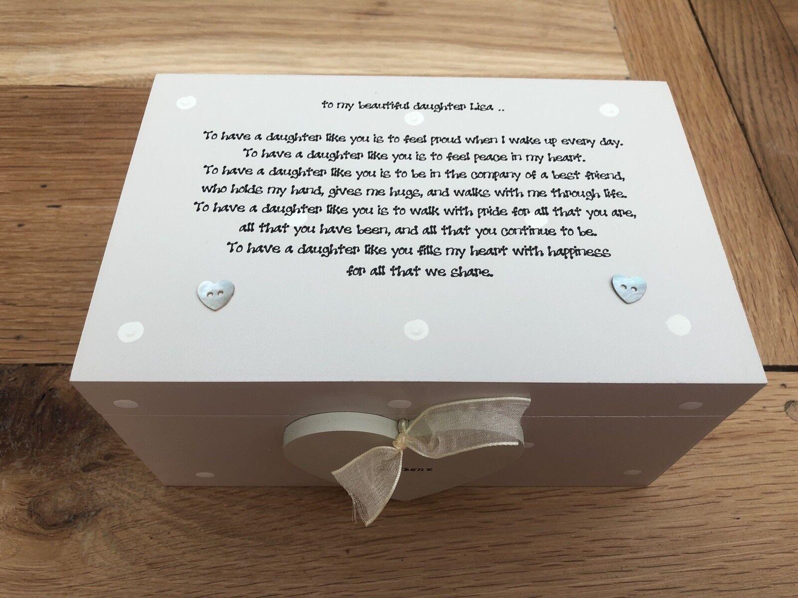 Shabby Personalised Chic Gift Special Daughter Jewellery Trinket Box Keepsake