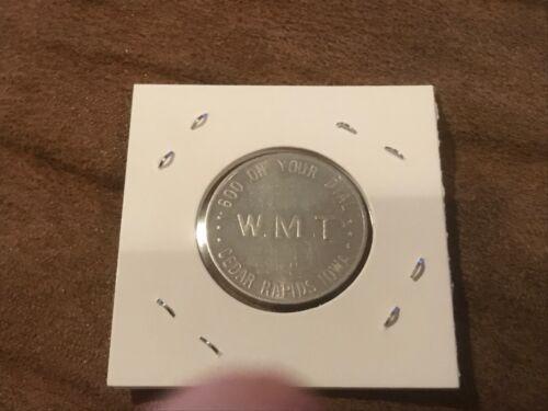 Vintage 1940's WMT 600 AM Radio Station for Eastern Iowa Ad Aluminum Token