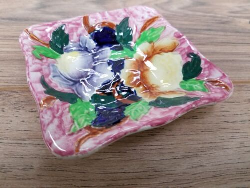 "Vintage 4.25"" Square Flower design Decorative ceramic Plate by Maling England!"