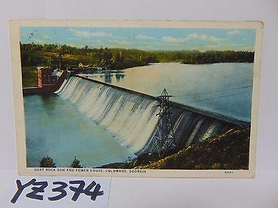 Vintage Postcard 1930S Goat Rock Dam And Power House Columbus Georgia Ga