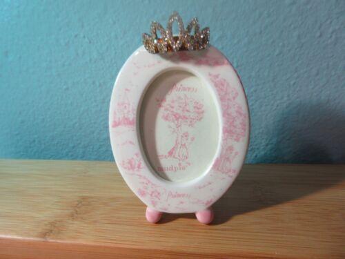 "Mud Pie Princess Pink Picture Frame Rhinestone Tiara Mini Oval Shape 3"" Pretty!"