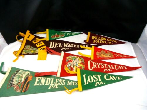 Lot of seven Vintage Souvenir Travel Pennants from Pennsylvania attractions