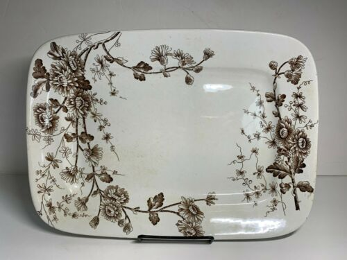 """W.H. GRINDLEY & CO. TUNSTALL """"SPRING"""" Brown Transfer ware 14"""" Platter"""