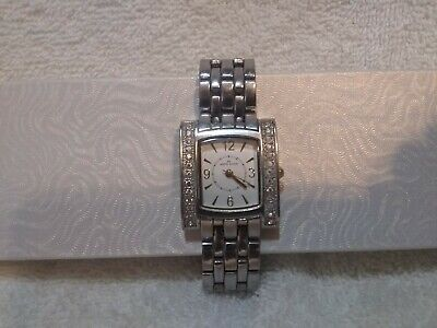 Anne Kline Watch Silver Rhinestones White Face Link Band New Battery Excellent !