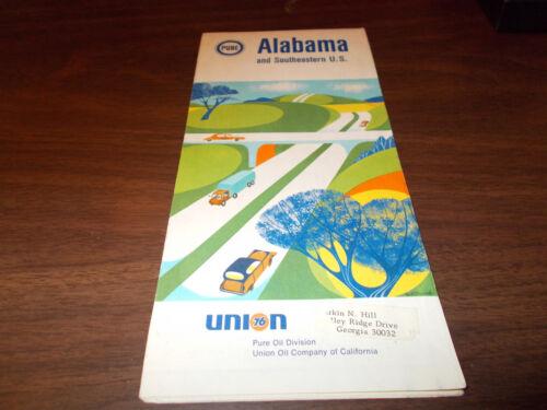 1969 Pure Oil Alabama Vintage Road Map