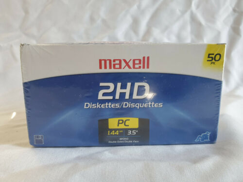 """Maxell 2HD Diskettes 1.44MB 3.5"""" Floppy Disks MF2HD PC 50 Pack - SEALED"""