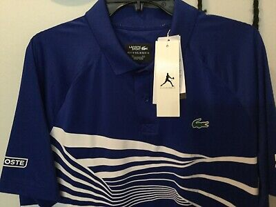 Lacoste Sport Ultra Dry Mens Blue Sz US XL FR 6 Croc Spellout Polo Shirt Tennis