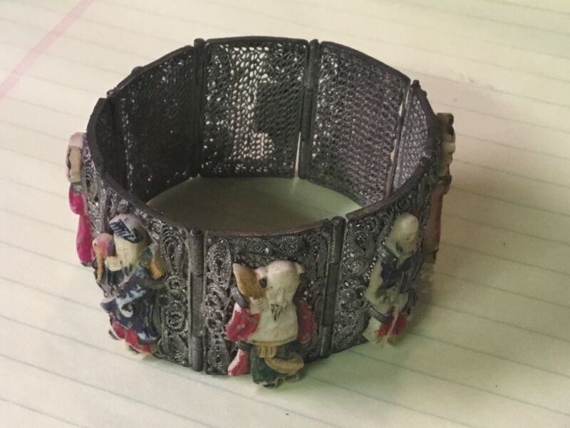 Vintage Silver Mesh Chinese Immortal Gods Fortune Icon Bracelet, Missing One God
