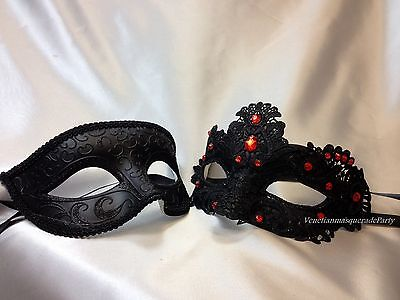 His and Hers Lace Masquerade mask pair Dress up Christmas New Year Eve Party