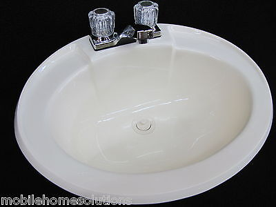 Drain-hardware (Mobile Home RV Parts. Bathroom Lav Sink w/ Faucet, Drain & Hardware Bone 20x17)