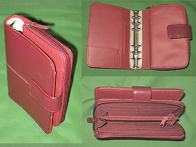 Compact 1.0 Red Faux Leather Buxton Planner Clutch Binder Franklin Covey 9122