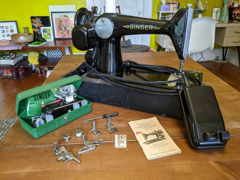 Singer 201-2 Sewing Machine with attachments runs 50s