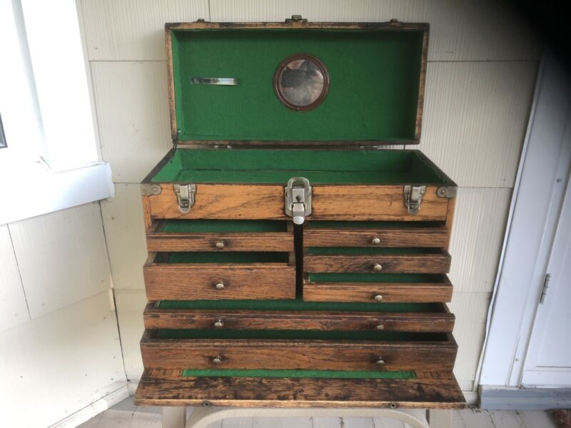 Beautiful Antique Wooden Machinist Chest NICE!
