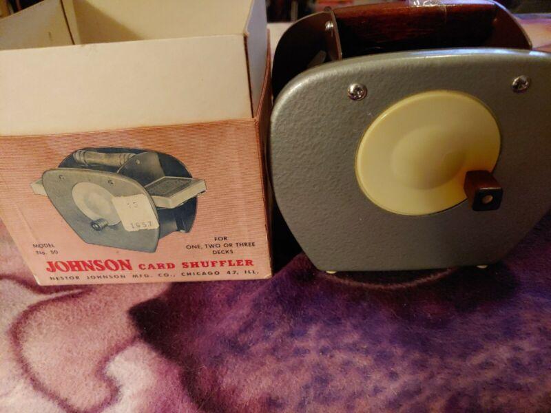 Vintage Nestor Johnson Card Shuffler in Original Box and Instructions, Model 50
