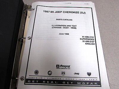 1998 Jeep Cherokee Body Parts - 1997 1998 1999 Jeep Cherokee Illustration Parts Catalog Manual Chassis Body Trim