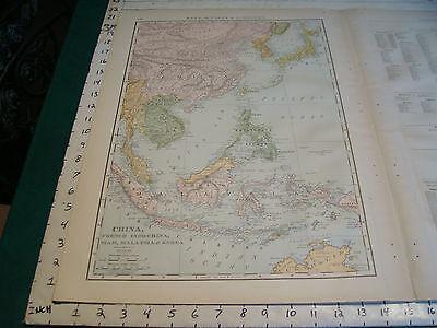 "Vintage Original 1898 Rand McNally Map: CHINA SIAM KOREA MALAYSIA, 15 x 21"""