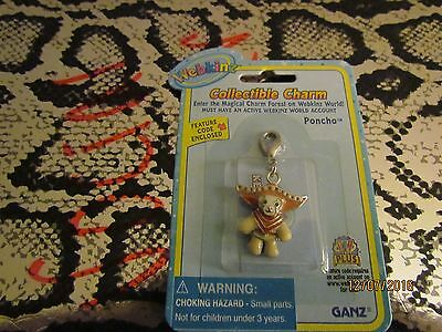 """WEBKINZ COLLECTIBLE CHARM """"PONCHO"""" FEATURE CODE ENCLOSED --RARE !!!"""