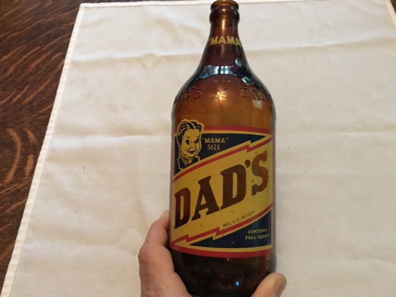 """1950 Dad's Quart """"Mama Size"""" Amber Root Beer Bottle, Tomahawk, Wisconsin"""