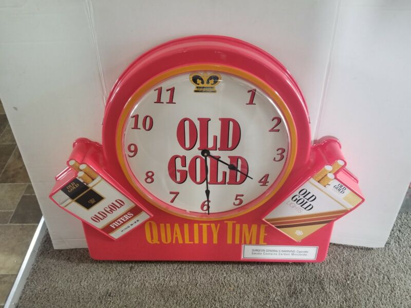 (VTG) Old Gold Cigarettes double sided smoking advertising bar clock sign new