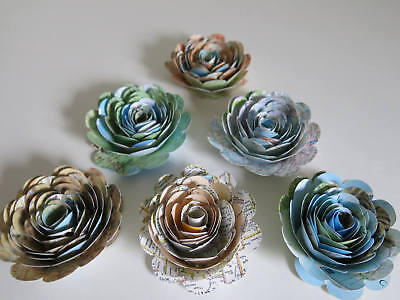 World Travel Theme Party Decorations, set of 6 Atlas Book Page Roses, 3