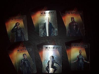 X-men xmen apocalypse movie promotional lenticular trading card marvel set of 6