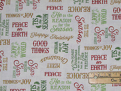 Reason for the Season Jesus Religious Christmas Fabric by the 1/2 Yrd #82486 IVY