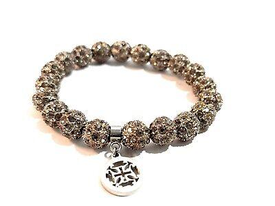 Rustic Cuff Crystal Grey Tone Charcoal Stretch Elastic Bracelet Sparkles
