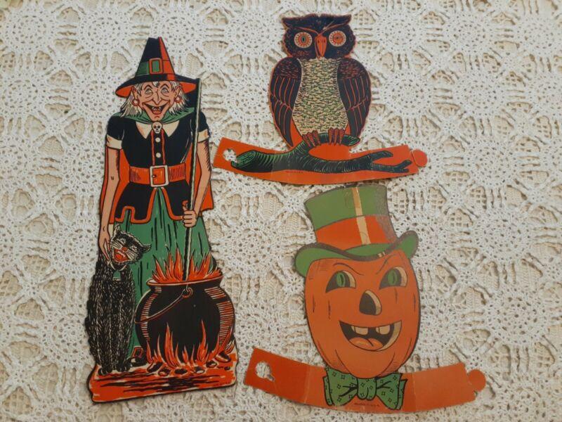 Vintage Halloween Decoration Die Cast Cut Outs ORIGINAL Witch Owl Pumpkin
