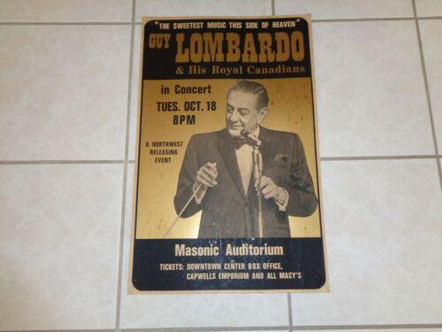 Vintage 1977 GUY LOMBARDO Concert Jazz Cardboard POSTER San Francisco