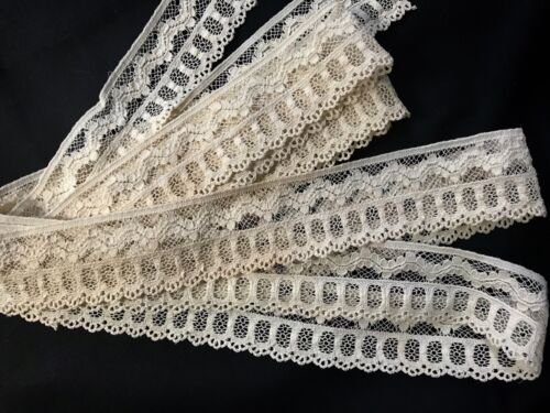 "4y 28"" x 1 3/4"" Gorgeous Antique Vintage French Lace Edging  Elaborate Pattern"