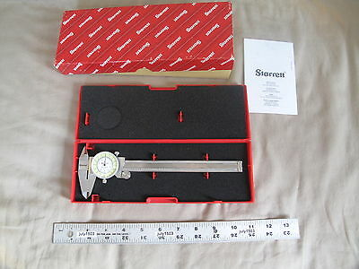 1 New Starrett 1202f-6 Fractional Dial Caliper With Case 0-6