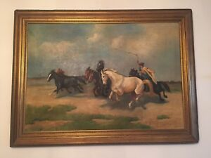 Large antique European oil painting