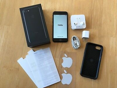 APPLE iPHONE 7 128GB JET BLACK,UNLOCKED ,WITH OTTERBOX,MORE,FREE S/H,NO RESERVE!