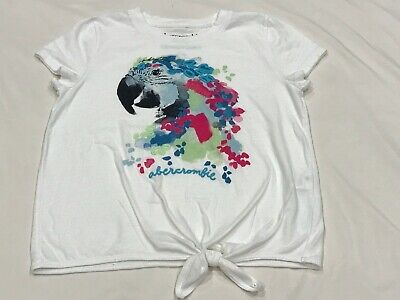 ABERCROMBIE KIDS GIRLS PARROT WHITE TOP SIZE 9/10