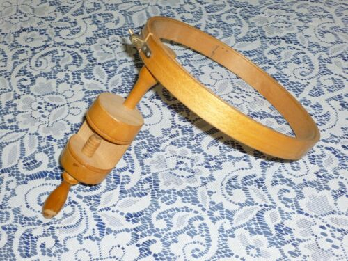 Antique Clamp Embroidery Hoop - Americana Sewing Hemming Pin- Solid Maple Wood
