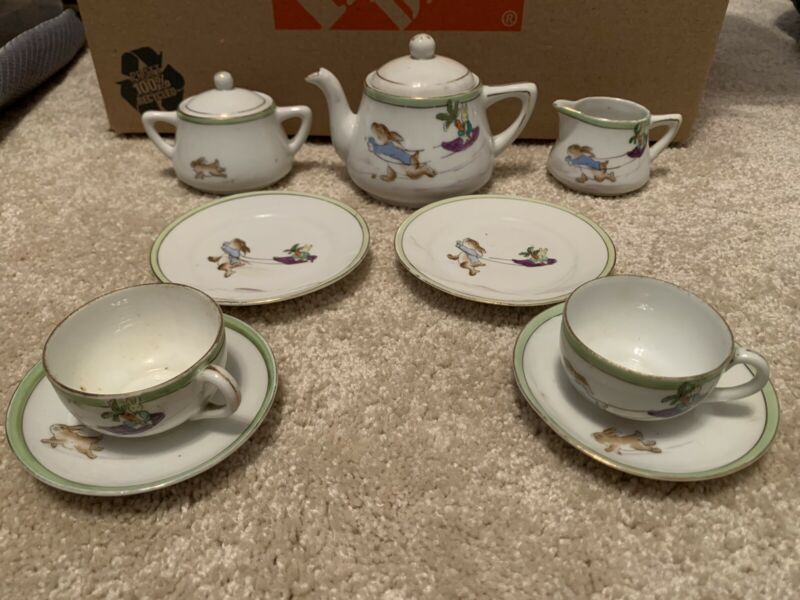 Antique Petter Rabbit Kids Tea Set Hand Painted Nippon