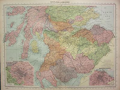 1940 MAP ~ SCOTLANDS LOWLANDS ~ EDINBURGH GLASGOW WIGTOWN DUMFRIES AYR ROXBURGH