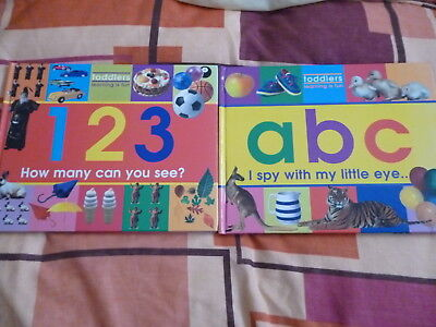 2 X TODDLERS LEARNING IS FUN HARD BACK BOOKS ABC & 123