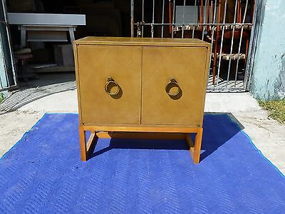 TOMMI PARZINGER LEATHER COVERED CABINET W BLEACHED MAHOGANY STAND CHARAK MODERN