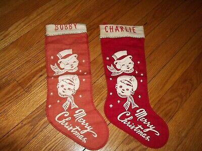2 Red Flannel Vintage Stenciled Felt Christmas Stocking Retro Snowman & woman. Retro Christmas Stockings