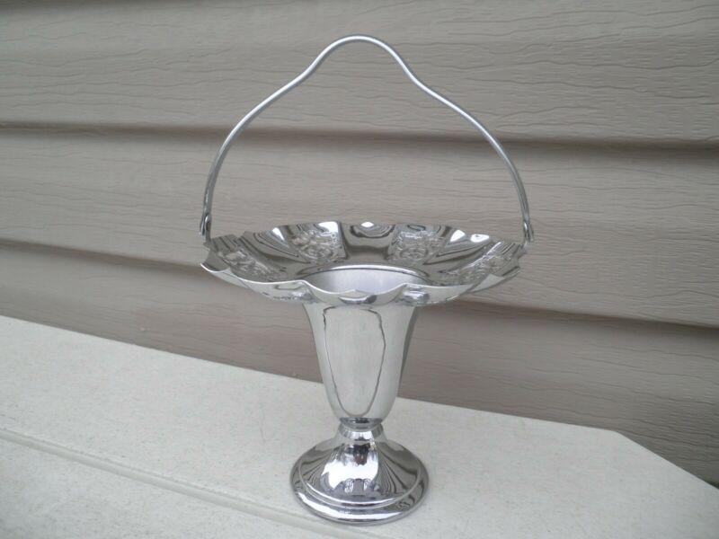 "Art Deco Farber Bros. Krome Kraft Swing Handle Basket Vase--- ""Perforated Lace"""