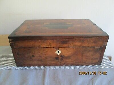 Large Antique Victorian Parquetry Inlaid Wooden Writing Slope Box with key